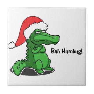 Bah Humbug! Fun, Alligator with Santa hat Ceramic Tile