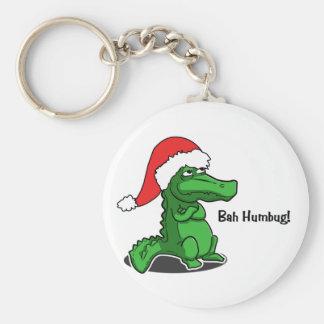 Bah Humbug! Fun, Alligator with Santa hat Keychain