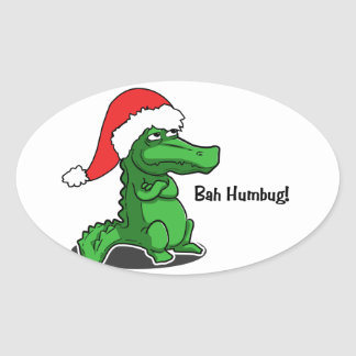 Bah Humbug! Fun, Alligator with Santa hat Oval Sticker