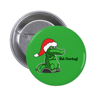 Bah Humbug! Fun, Alligator with Santa hat Pinback Button