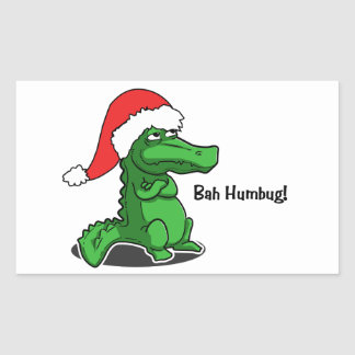 Bah Humbug! Fun, Alligator with Santa hat Rectangular Sticker