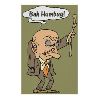 bah humbug old man with cane art poster