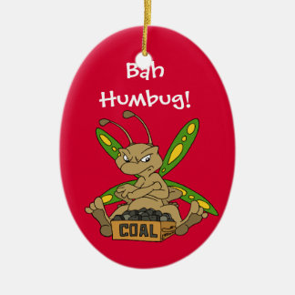 Bah Humbug! Double-Sided Oval Ceramic Christmas Ornament