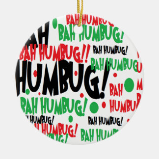 Bah Humbug Double-Sided Ceramic Round Christmas Ornament
