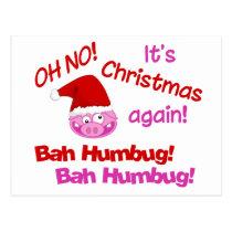 BAH HUMBUG Pig postcard