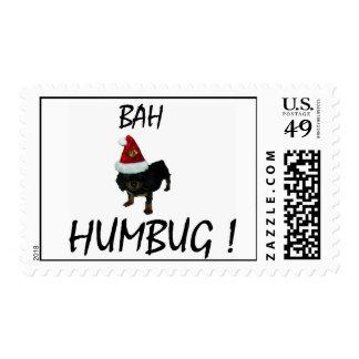bah humbug pup in santa hat postage stamp