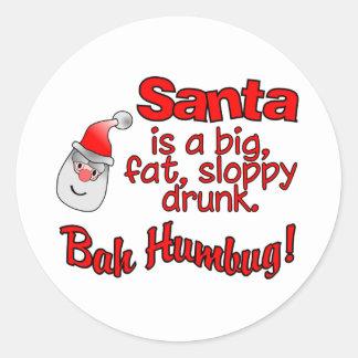 BAH HUMBUG Santa stickers. Classic Round Sticker