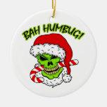 Bah Humbug Skull Double-Sided Ceramic Round Christmas Ornament