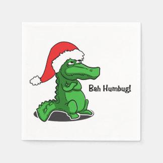 Bah humbug! Smug alligator Santa cartoon Very cute Paper Napkin