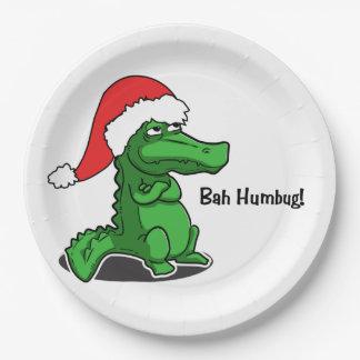 Bah Humbug! Smug alligator Santa. Very cute Paper Plate