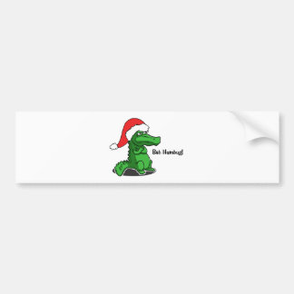 Bah Humbug! Smug cartoon alligator with Santa Hat Bumper Sticker