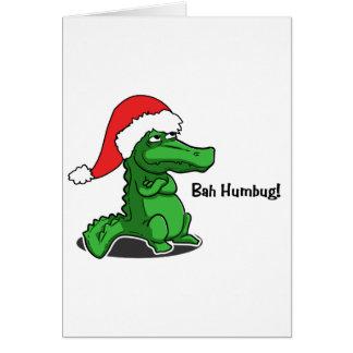 Bah Humbug! Smug cartoon alligator with Santa Hat Card