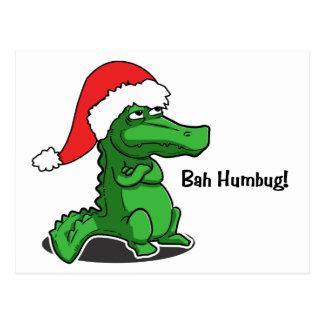 Bah Humbug! Smug cartoon alligator with Santa Hat Postcard