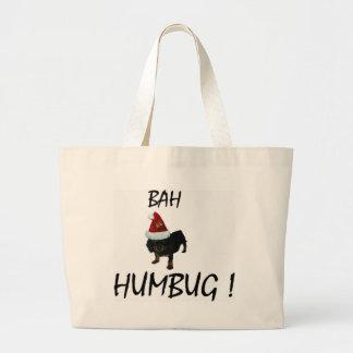 BAH HUMBUG UNHAPPY PUPPY DOG IN SANTA HAT TOTE BAG