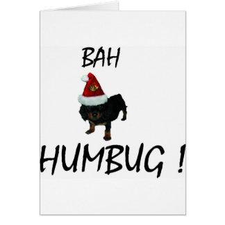 BAH HUMBUG UNHAPPY PUPPY DOG IN SANTA HAT CARD