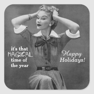 Bah Humbug Vintage Style Holiday Humor Stickers