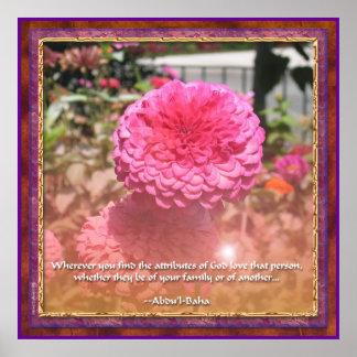 Baha i Attributes Quotation - Zinnia Poster