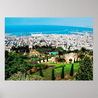 Bahai Gardens above Haifa, above Mt. Carmel poster