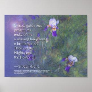 Baha'i Prayer - Irises Poster