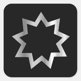 Bahai religion Symbol Nine pointed star Square Sticker