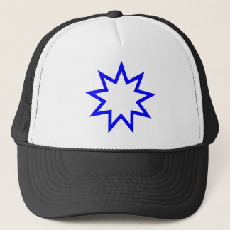 Bahai star blue trucker hat