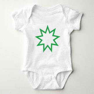 Bahai star green baby bodysuit