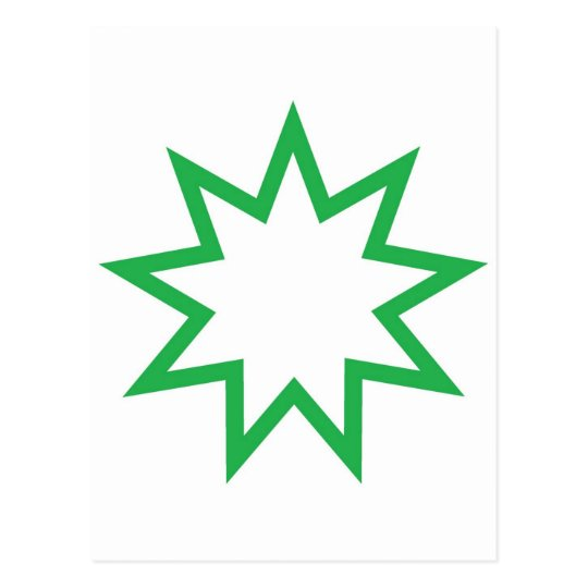 Bahai star green postcard