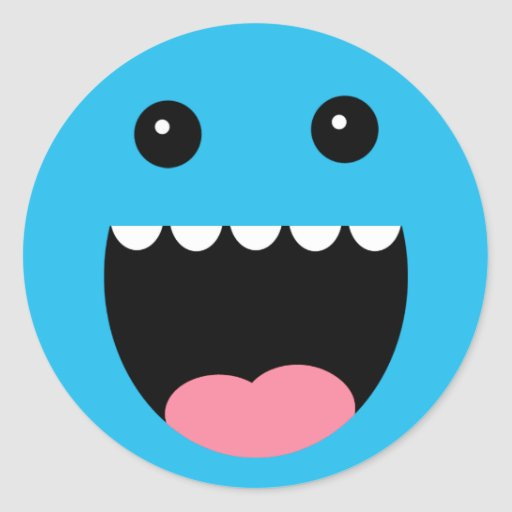 "Bahama Blue ""Chompy"" Monster Face Classic Round Sticker"