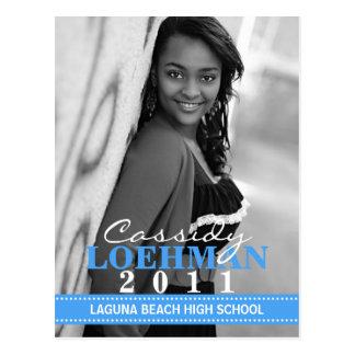 Bahama Blue Custom Photo Graduation Announcement Postcard