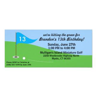 "Bahama Blue Hit the Green Golf Birthday Party 4"" X 9.25"" Invitation Card"