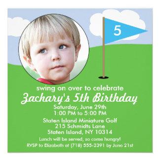 Bahama Blue Hole in One Photo Mini Golf Party Custom Invites