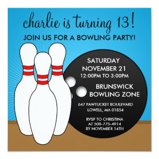 "Bahama Blue Let's Have a Ball Bowling Party 5.25"" Square Invitation Card"