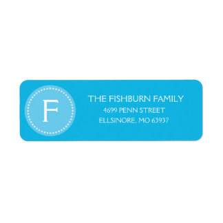 Bahama Blue Muted Monogram Custom Monogrammed Label