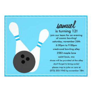 Bahama Blue Pin Stripes Bowling Birthday Party Card