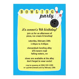 Bahama Blue Retro Bowling Alley Bowling Birthday Card