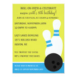 """Bahama Blue Roll On Over Bowling Birthday Party 6.5"""" X 8.75"""" Invitation Card"""