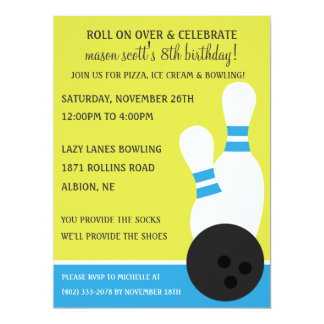 Bahama Blue Roll On Over Bowling Birthday Party 6.5x8.75 Paper Invitation Card