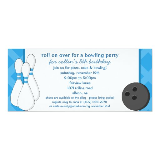 """Bahama Blue Roll on Over Bowling Birthday Party 4"""" X 9.25"""" Invitation Card"""