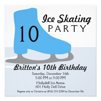 Bahama Blue Skate Date Ice Skating Birthday Party Announcement