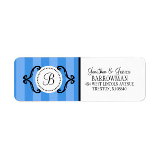Bahama Blue Sweet Charming Striped Personalized Label