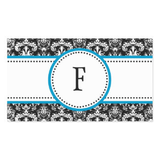 Bahama Blue & White Classic Damask Mommy Calling / Double-Sided Standard Business Cards (Pack Of 100)