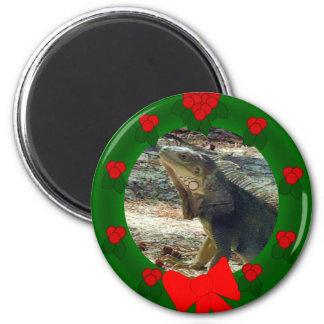 Bahama Iguana Christmas Magnet