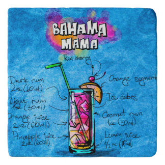 Bahama Mama Cocktail Custom Marble Stone Trivet
