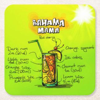 Bahama Mama Cocktail Recipe Custom Square Coaster
