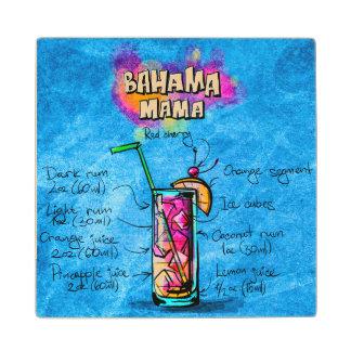 Bahama Mama Cocktail Recipe Wooden Coaster