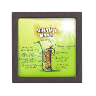 Bahama Mama Drink- Cocktail Gift Jewelry Box
