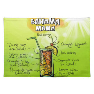 Bahama Mama Drink- Cocktail Gift Placemat
