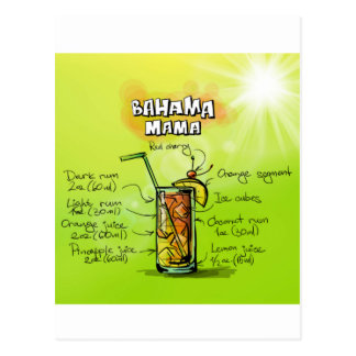 Bahama Mama Drink- Cocktail Gift Postcard