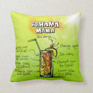 Bahama Mama Drink- Cocktail Gift Throw Pillow