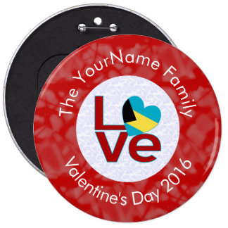 Bahamanian LOVE White on Red 6 Inch Round Button
